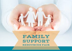 Family Support Fair icon with a hand holding paper cutouts of family members.