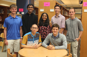 Students who were selected as National Merit Finalists in the library.