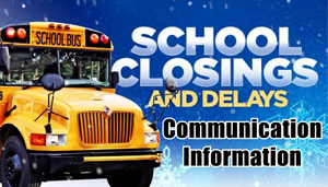 School Closings and Delays: Communication Information - photo of school buss with snow flakes in the background