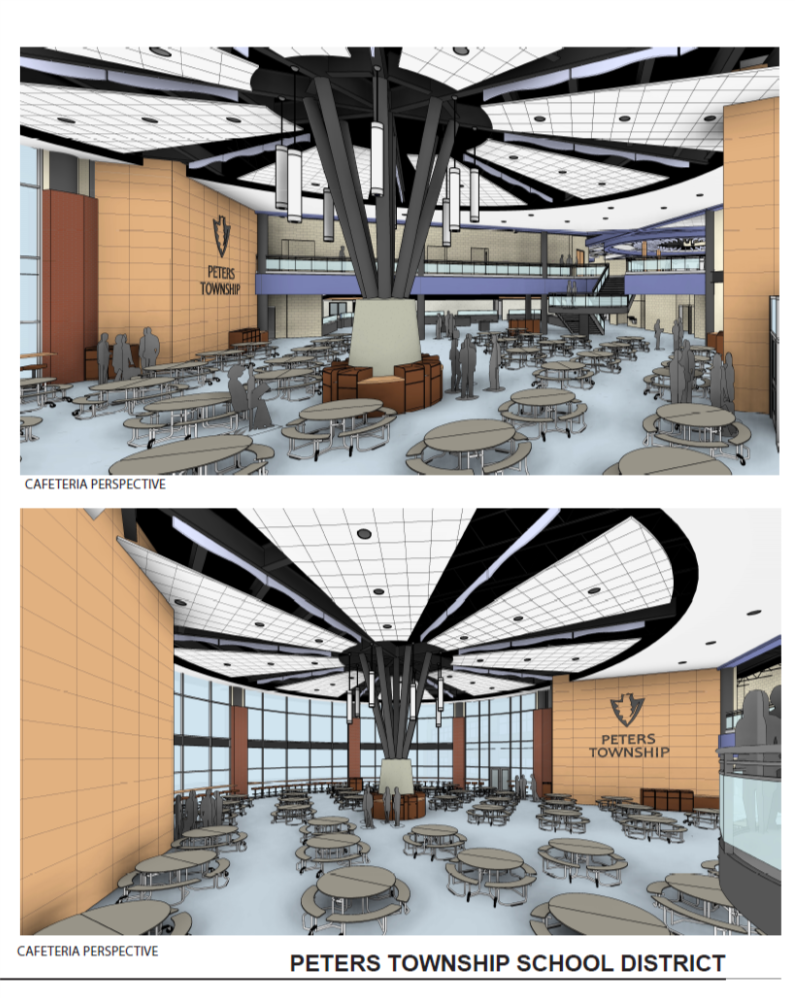 artists drawing of the new cafeteria with tables and windows