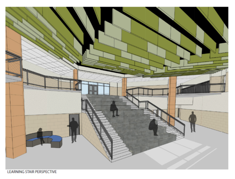 Rendering of the learning stairs with seating area for students.
