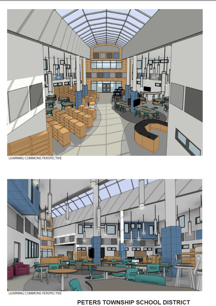 Rendering of the learning commons with book storage, seating and meeting rooms.
