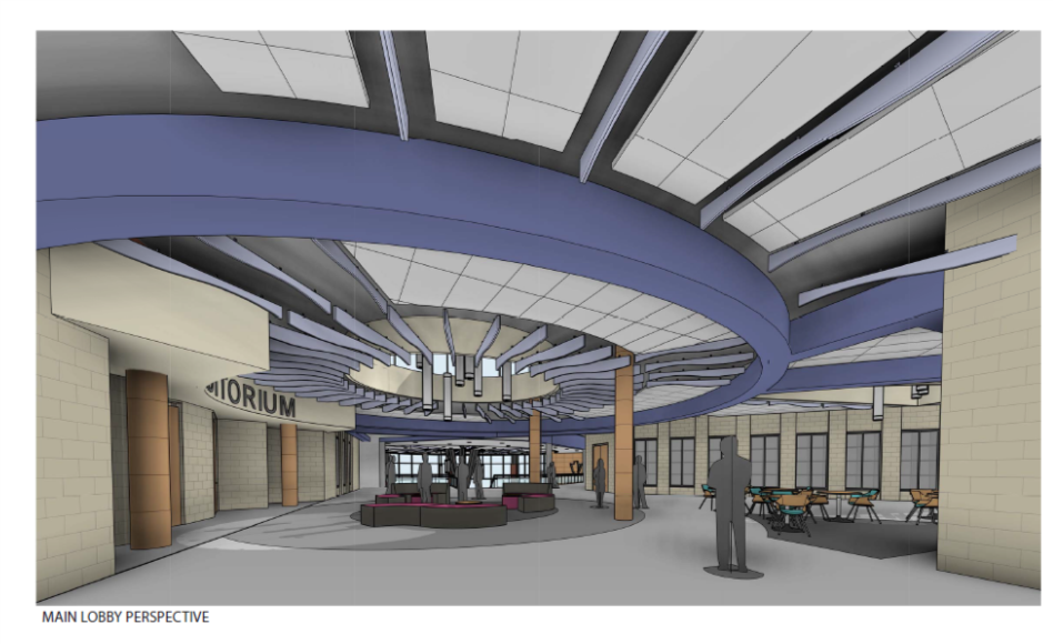 Rendering of the main lobby with curved ceiling fixtures and seating areas.