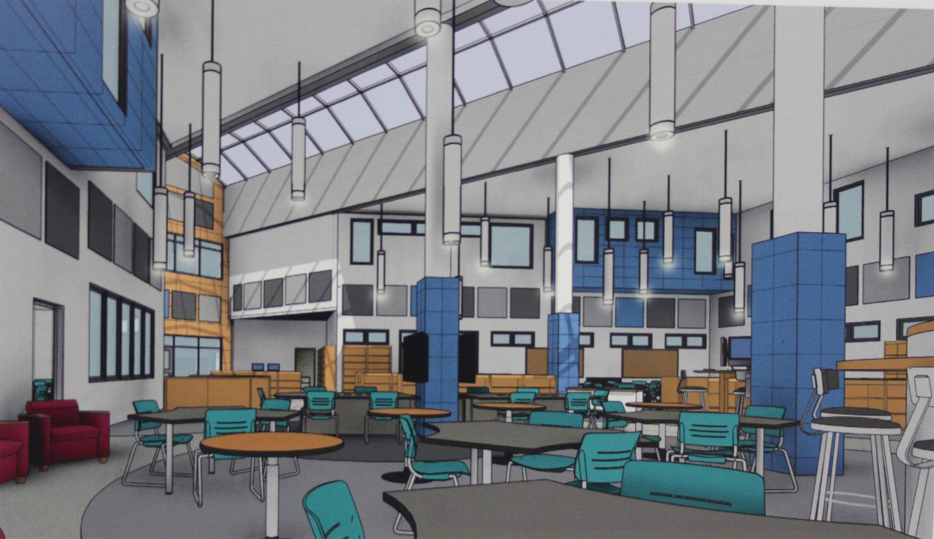 Rendering of the Learning Commons.