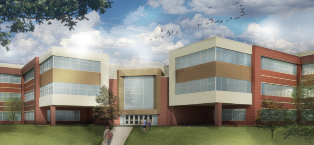 artists rendering of the academic wing of the high school