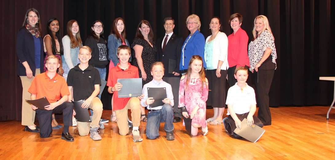 Group photo of the Character Counts honorees.