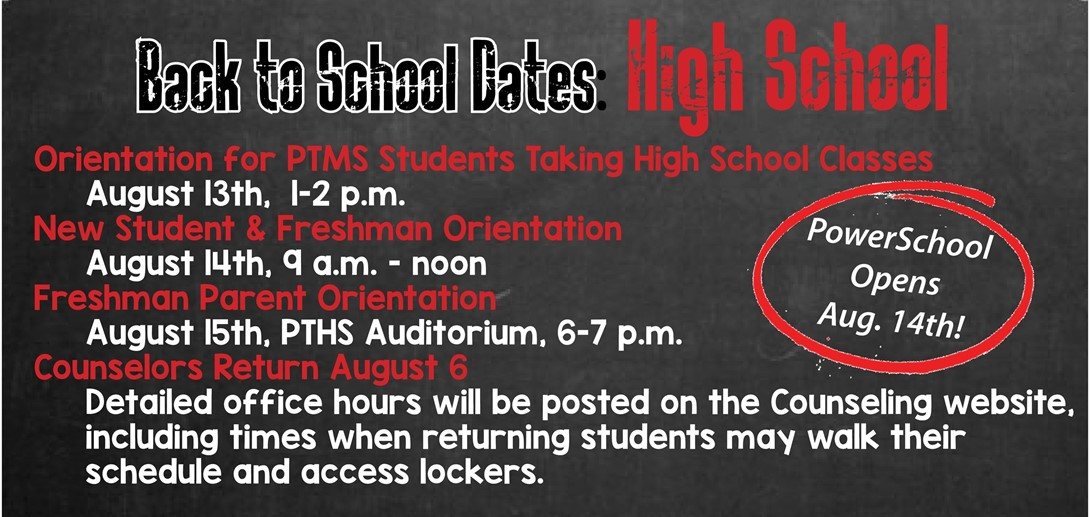 Back to School PTHS Info