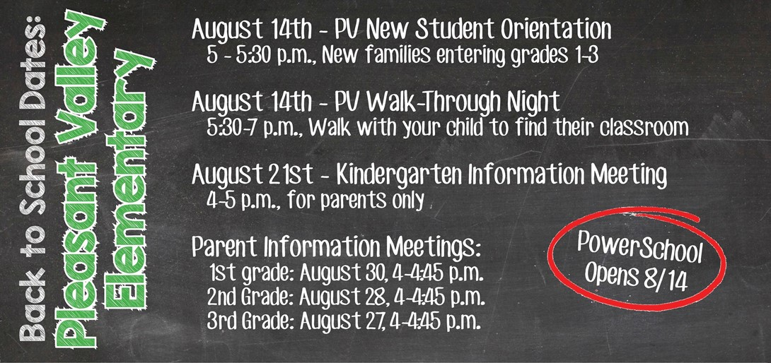Pleasant Valley Back to School Dates