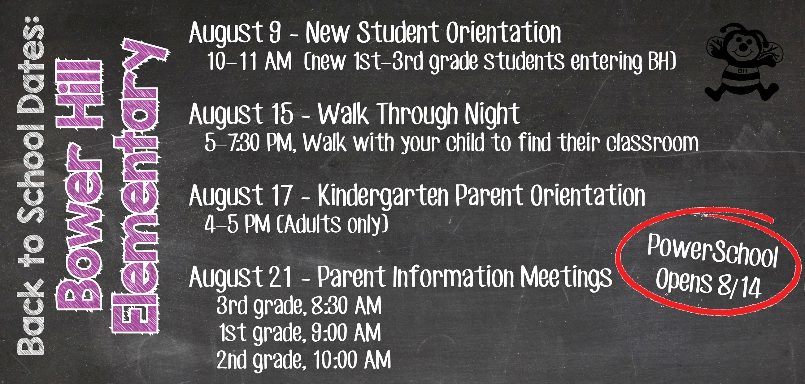 Bower Hill back to school dates