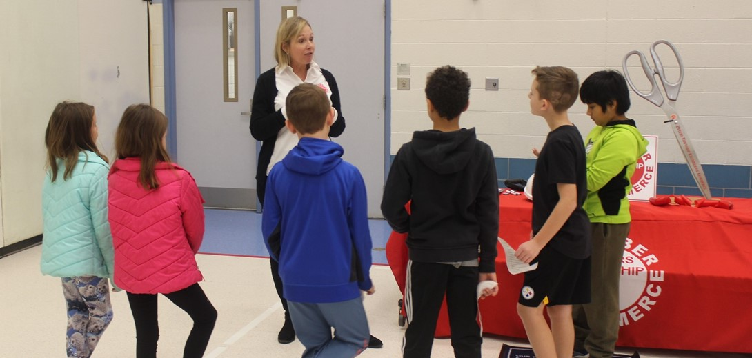 Local business representatives met with Junior Achievement students at McMurray.