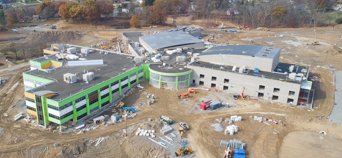 view from the new construction of the high school.