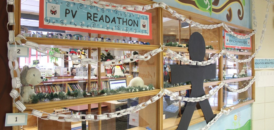 Read-a-Thon display at the PV Library