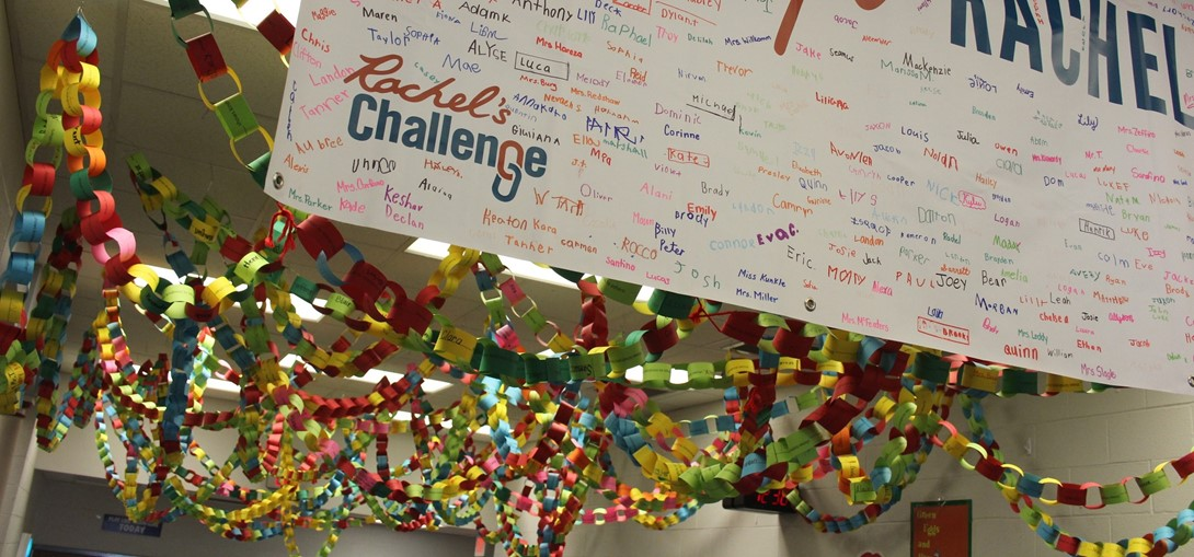 Paper chain representing the chain reaction of kindness at Bower Hill.