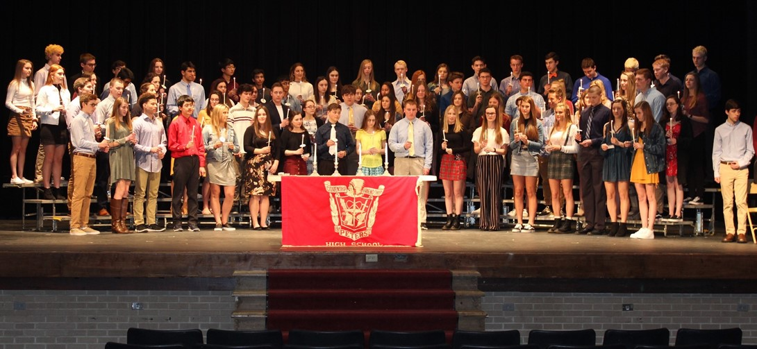 Students at the NHS induction ceremony.