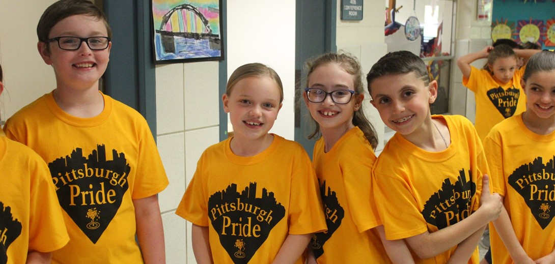 Third graders in their pittsburgh pride shirts.