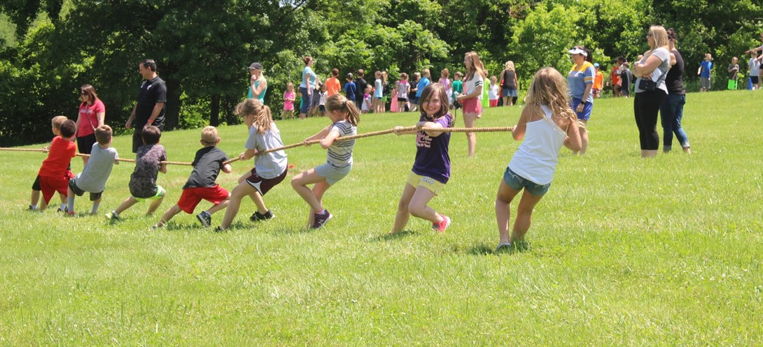 students in a tug of war