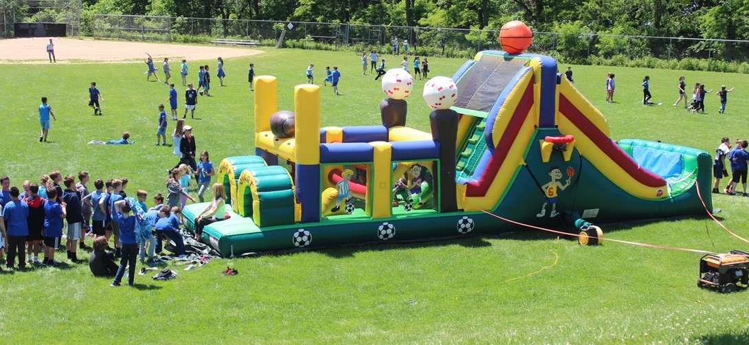 Students in the inflatables on McMurray Day.