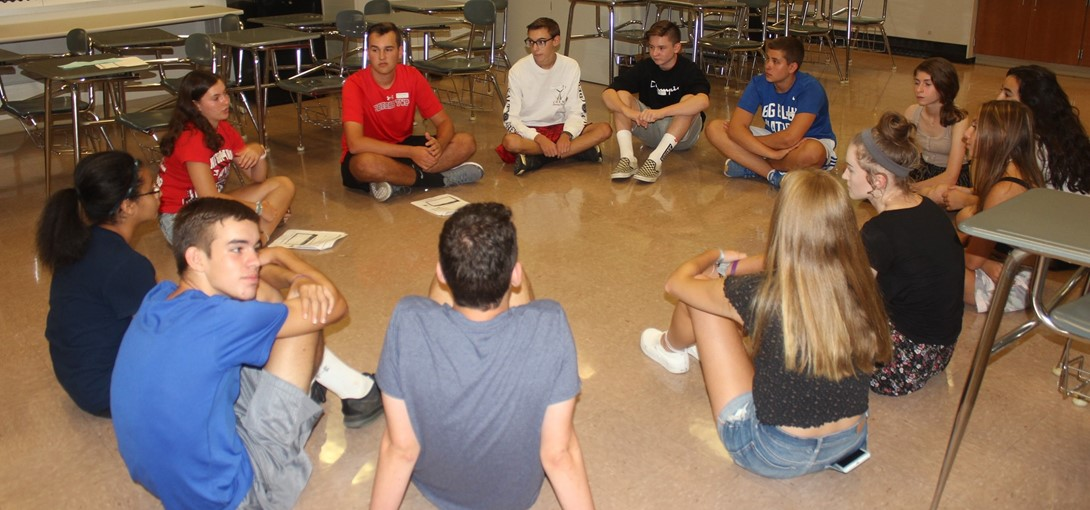 Students in their small group during orientation