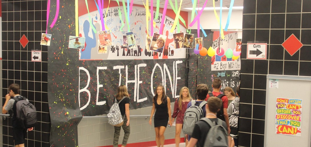 Students at PTHS in the decorated halls