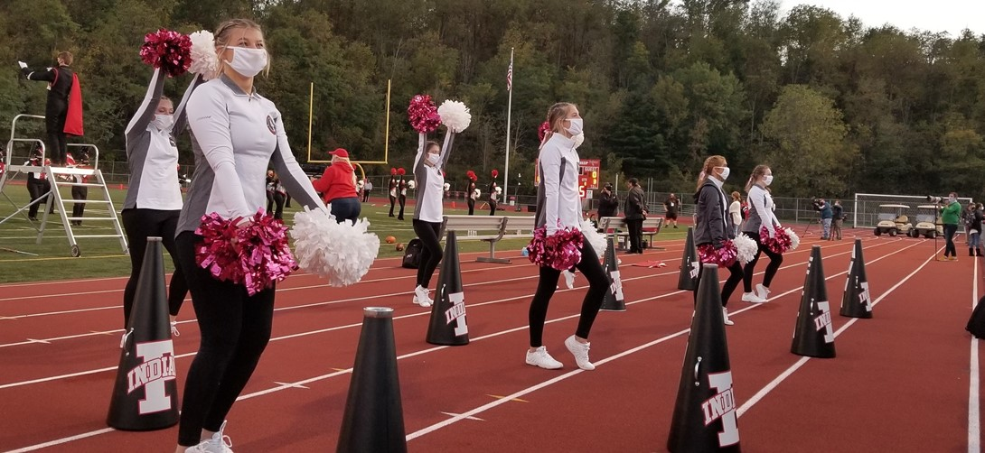 cheerleaders on the sidelines