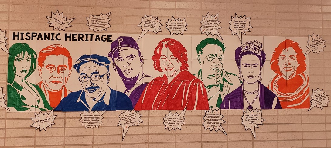 Hispanic Heritage month mural and quotes.