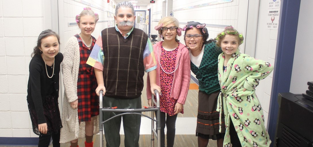Students dressed as their 100 year old selves.