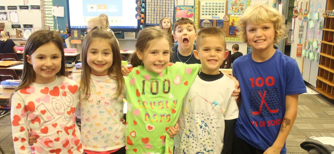 Students in their 100 day shirts