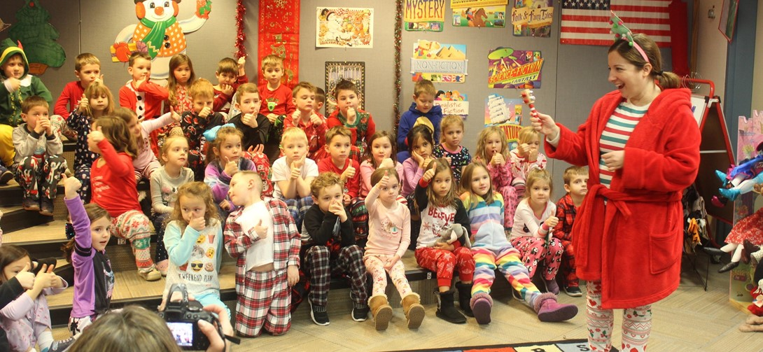 Kindergarten students get ready for a ride on the Polar Express!