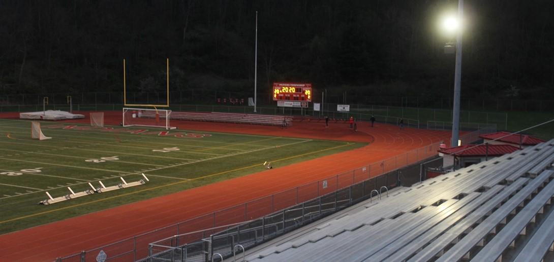 Stadium lit up for light up night.