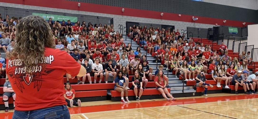 Students gather for freshman orientation at the high school
