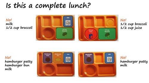 Sample lunches that are not complete. They do not have at least three components or they do not have at least ½ cup of fruit, juice or vegetable.