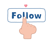 "Image of a hand clicking on a ""follow"" icon"