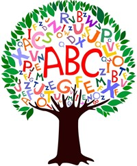 Tree made up of alphabet letters