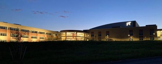 high school at dusk