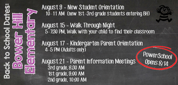 Back to school dates to note