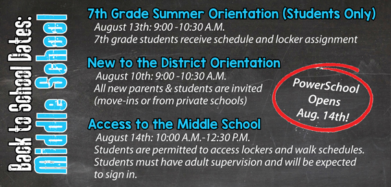 PTMS Back to School Dates