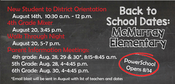McMurray back to school dates to note