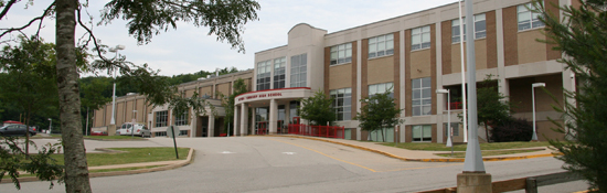 View of the front of the high school